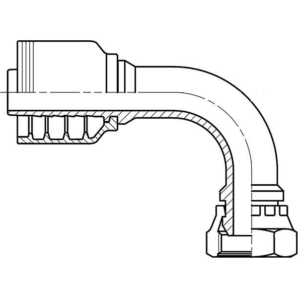 F4-0808-BSPFS90 - 0808 BSPP FEMALE SWIVEL 90° BENT TUBE - Texcel